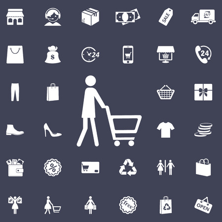 Silhouettes of people out shopping. Illustration