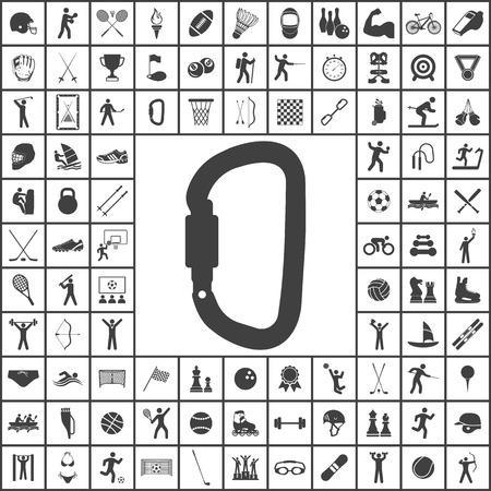 metal fastener: Carabiner icon. Sport set of icons