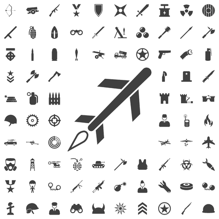 Cruise missile icon vector. Set of weapon icons