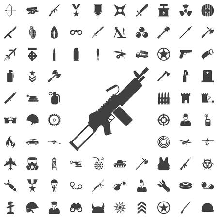 Machine Gun grey icon. Set of weapon icons Illustration