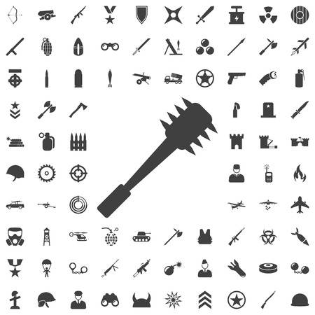 Spiked cudgel club weapon flat icon. Set of weapon icons Illustration