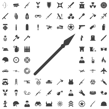 Medieval spear weapon with pointed head flat icon. Set of weapon icons