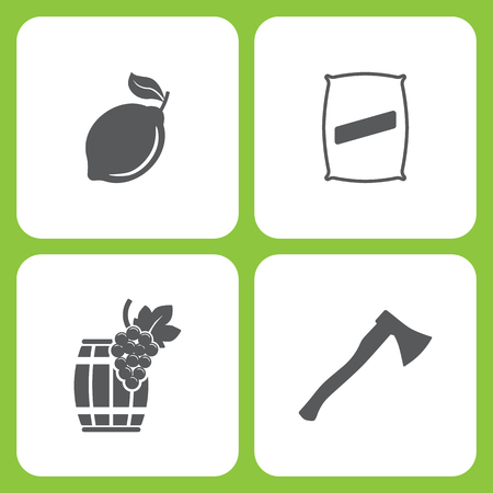 Vector Illustration Set Of Simple Farm and Garden Icons. Elements Lemon, Seed bag, Wooden barrel, Axe on white background