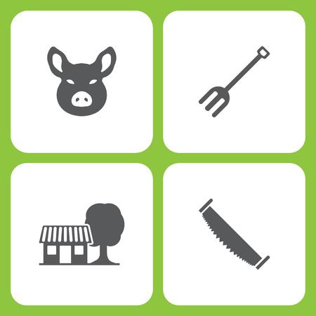 Conjunto de ilustração vetorial de fazenda simples e ícones de jardim. Elementos cabeça de porco, ferramentas de jardim, casa de fazenda, dois homens viram no fundo branco