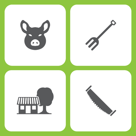 Vector Illustration Set Of Simple Farm and Garden Icons. Elements Pig head, garden tools, Farm house, two man saw on white background 向量圖像