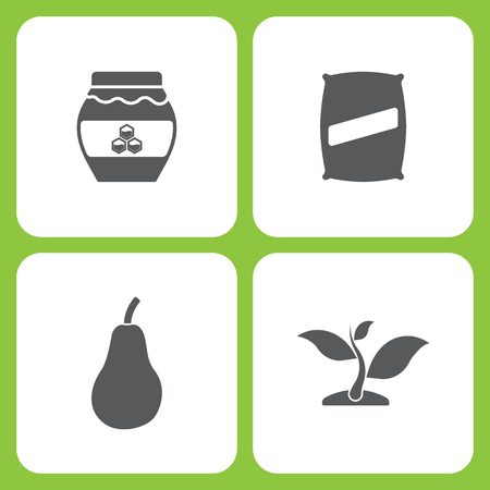 Vector Illustration Set Of Simple Farm and Garden Icons. Elements honey, Seed bag, Pear, plant on white background