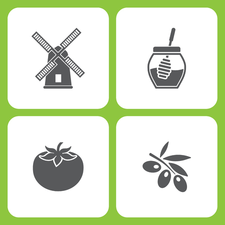 Vector Illustration Set Of Simple Farm and Garden Icons. Elements Mill, Honey, Tomato, Olives  on white background Vettoriali