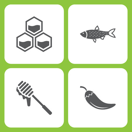 Vector Illustration Set Of Simple Farm and Garden Icons. Elements honeycomb, fish, Honey, Pepper  on white background 向量圖像