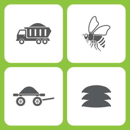 Vector Illustration Set Of Simple Farm and Garden Icons. Elements truck, bee, Wheelbarrow, Seed bag on white background