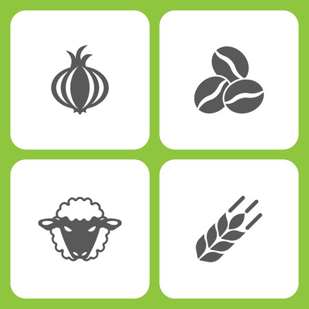 Vector Illustration Set Of Simple Farm and Garden Icons. Elements garlic, Coffee bean, Sheep, wheat on white background
