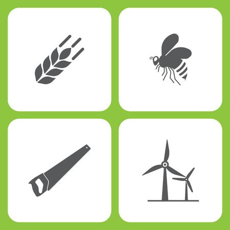 Insieme dell'illustrazione di vettore delle icone semplici del giardino e dell'azienda agricola. Elementi di grano, ape, sega, energia eolica su sfondo bianco Archivio Fotografico - 93833509