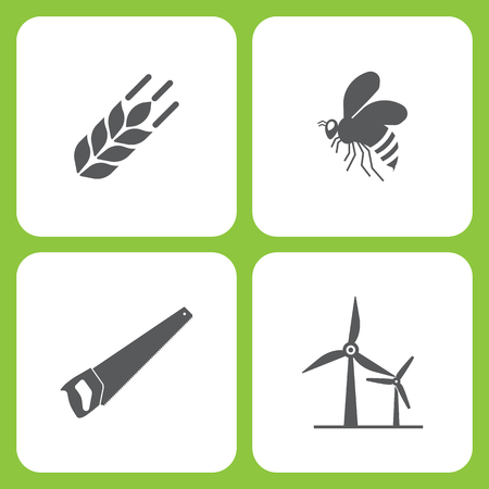 Vector Illustration Set Of Simple Farm and Garden Icons. Elements wheat, Bee, saw, wind power on white background Ilustração