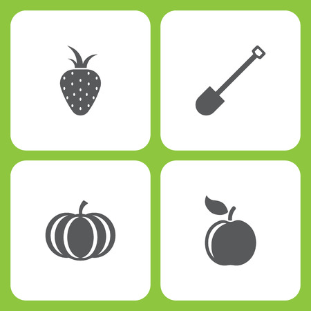 Vector Illustration Set Of Simple Farm and Garden Icons. Elements strawberry, Shovel, Pumpkin, Apple on white background