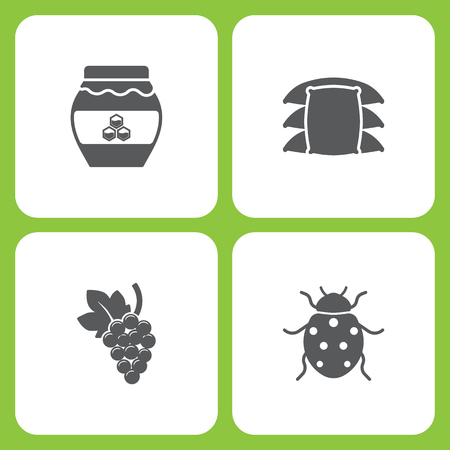 Vector Illustration Set Of Simple Farm and Garden Icons. Elements honey, sack, Grape, Ladybug on white background. Иллюстрация