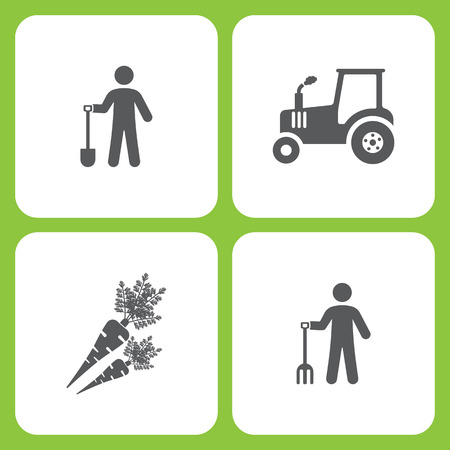 Vector Illustration Set Of Simple Farm and Garden Icons. Elements Gardener, Tractor, Carrot, Farmer on white background.