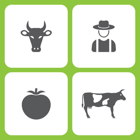 Vector Illustration Set Of Simple Farm and Garden Icons. Elements Cow, Farmer, Tomato, on white background. Ilustração