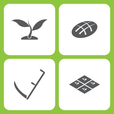 シンプルな農場と庭のアイコンのベクトルイラストセット。要素植物、パン、サイス、白い背景に苗。