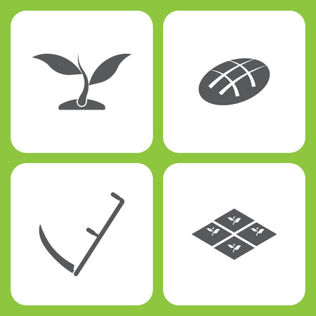 Vector illustratie Set van eenvoudige boerderij en tuin pictogrammen. Elementen planten, brood, zeis, zaailing op witte achtergrond.