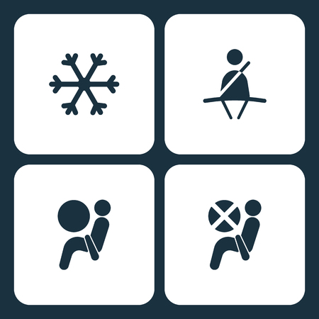 Vector Illustration Set Car Dashboard Icons. Elements Snow, Seat belt, Airbag, and Airbag icon on white background.