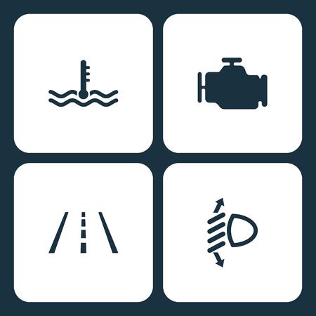 Vector Illustration Set Car Dashboard Icons. Elements temperature, Engine, Lane Assist, and Beam requlator icon on white background Illustration