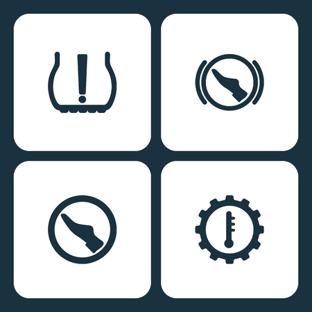 Vector Illustration Set Car Dashboard Icons. Elements Tire Pressure, press brake pedal , press pedal, and motor temperature icon on white background