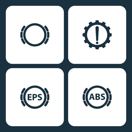 Vector Illustration Set Car Dashboard Icons. Elements Brake problem, Warning. , Car dashboard, and Brake icon on white background Vectores