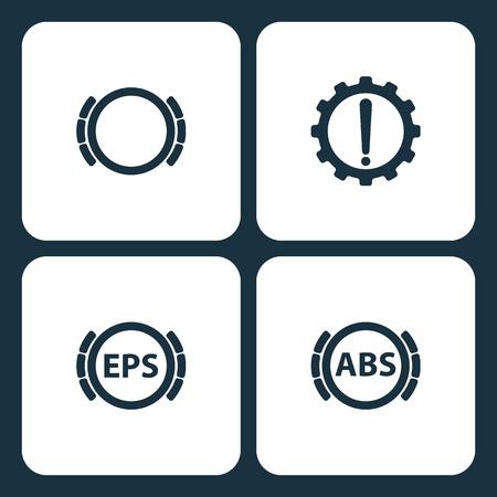 Vector Illustration Set Car Dashboard Icons. Elements Brake problem, Warning. , Car dashboard, and Brake icon on white background Çizim