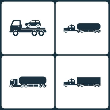 Set of Truck and Transport Icons. Elements of Auto Evacuator, Transport Truck Chemical, Chemical Truck and Truck icon on white background. Vectores