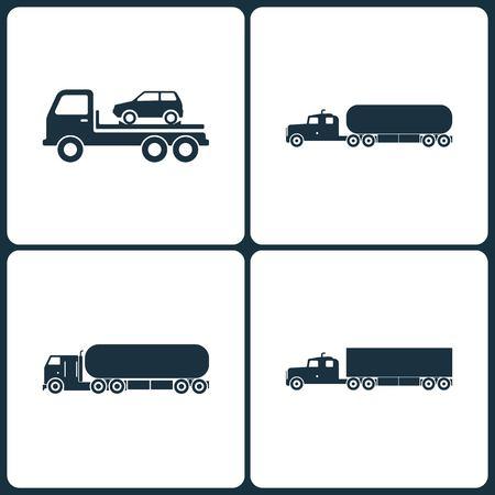 Satz LKW- und Transport-Ikonen. Elemente des Selbstevakuators, der Transport-LKW-Chemikalie, des chemischen LKWs und der LKW-Ikone auf weißem Hintergrund.