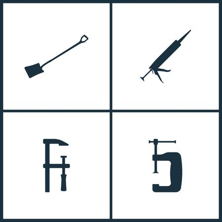 Vector Illustration Set Cinema Icons. Elements of Shovel, Silicone, Clamp and clamp icon on white background Stock Illustratie