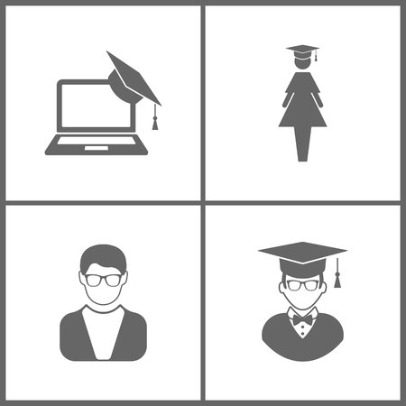 Vector Illustration Set Office Education Icons. Elements of Graduation cap and laptop, graduate student, Avatar and Avatar with Graduation Cap on white background