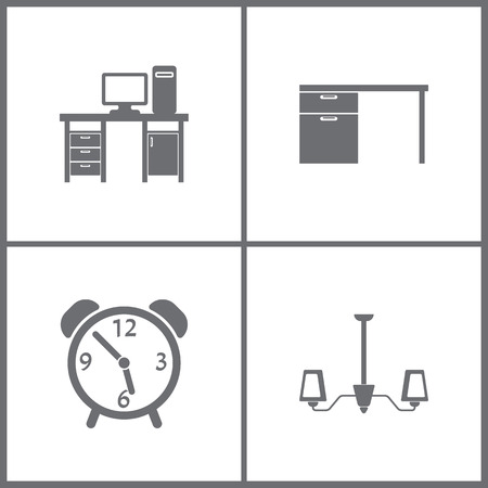 Vector illustration set office furniture icons. Elements of sofa icon on white background. Banque d'images - 94804417