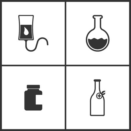 Vector Illustration Set Medical Icons. Elements of Drop counter, Laboratory glass, Bank of pills and Medicine vial bottle icon on white background