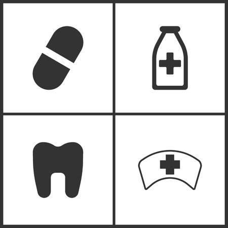Vector Illustration Set Medical Icons. Elements of Pill, Medicine vial bottle, Tooth and Doctor Cap icon on white background