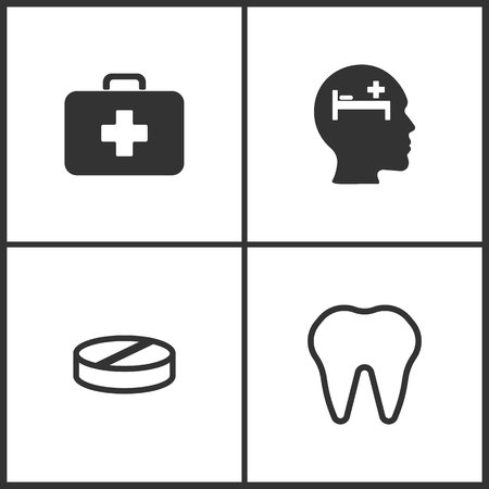 Vector Illustration Set Medical Icons. Elements of Medical bag, Pay bed, Pill and Tooth icon on white background Illustration