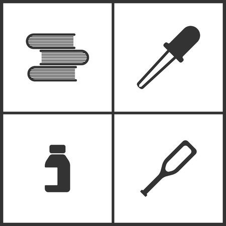 Vector Illustration Set Medical Icons. Elements of Books, Pipette, Bank of pills and Crutches icon on white background