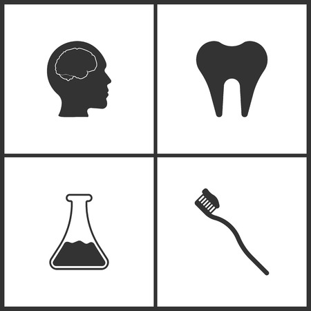 Vector Illustration Set Medical Icons. Elements of Brain , Tooth, Laboratory glass and Toothbrash icon on white background