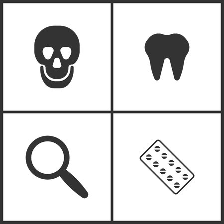 Vector Illustration Set Medical Icons. Elements of Skull, Tooth, Magnify  and Pills icon on white background