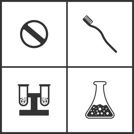 Vector Illustration Set Medical Icons. Elements of Pill, Toothbrash and Laboratory glass icon on white background