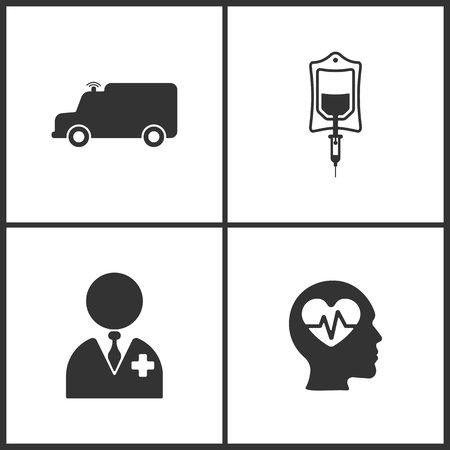 Vector Illustration Set Medical Icons. Elements of Ambulance , Drop counter, Doctor and Pulse icon on white background