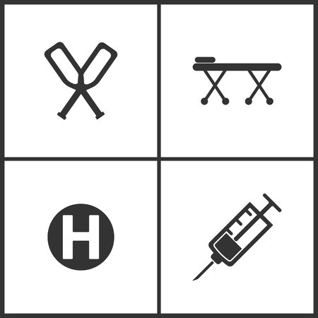 Vector Illustration Set Medical Icons. Elements of Crutches, Pay bed, Hospital and Syringe icon on white background