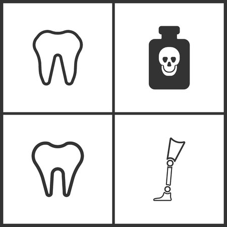 Vector Illustration Set Medical Icons. Elements of Poison , Tooth and Prosthesis icon on white background