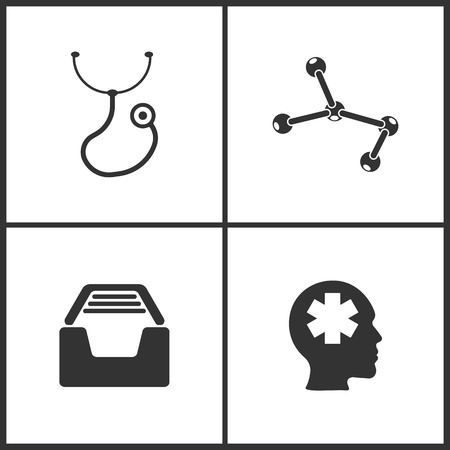 Vector Illustration Set Medical Icons. Elements of Stethoscope, Molecule, Medical files and Pharmacy icon on white background