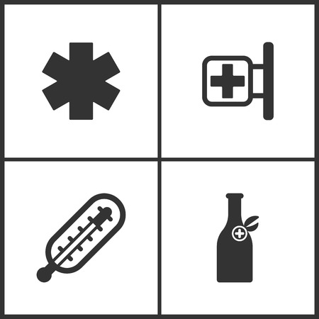 Vector Illustration Set Medical Icons. Elements of Pharmacy, Thermometer and Medicine vial bottle icon on white background