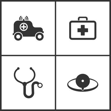 Vector Illustration Set Medical Icons. Elements of Ambulance, Medical bag, Stethoscope and Medical mirror icon on white background