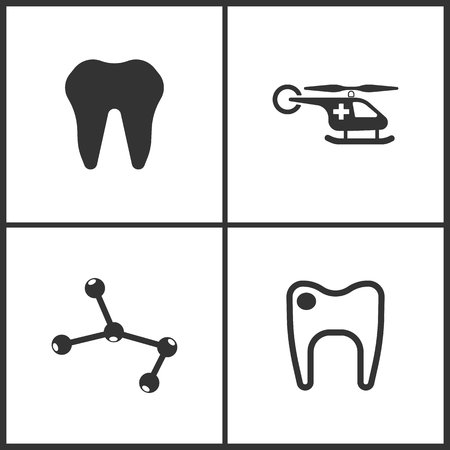 Vector Illustration Set Medical Icons. Elements of Emergency Helicopter, Molecule and Tooth icon on white background