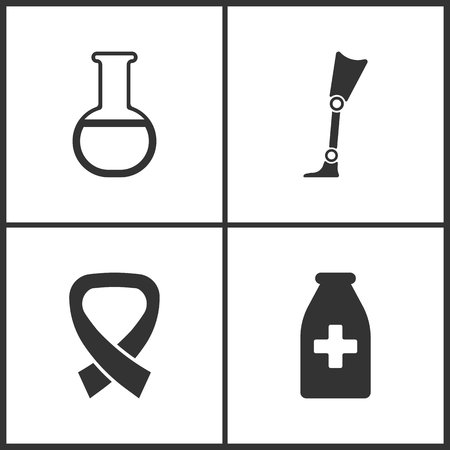 Vector Illustration Set Medical Icons. Elements of Laboratory glass, Prosthesis, AIDS and Medicine vial bottle icon on white background Illustration