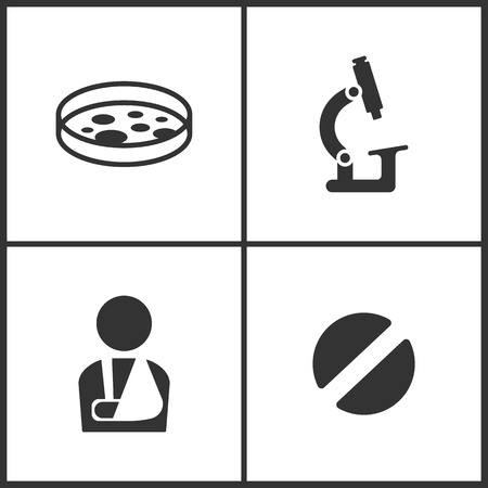 Vector Illustration Set Medical Icons. Elements of Test tube, Microscope, Injured man and Pill icon on white background