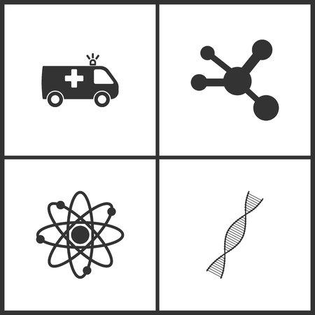 Vector Illustration Set Medical Icons. Elements of Ambulance, Molecule , Neutron and DNA molecule icon on white background