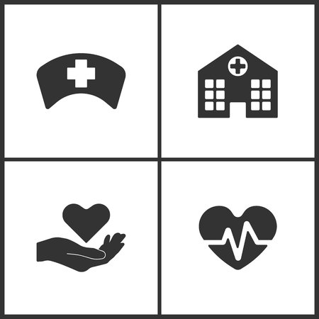 Vector Illustration Set Medical Icons. Elements of Doctor Cap, Hospital, health and Heartbeat icon on white background